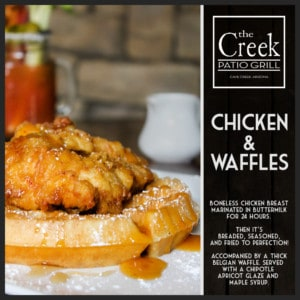Chicken and Waffles - The Creek Patio Grill Sunday Brunch - Cave Creek, Tatum Ranch, Phoenix