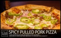 Spicy Pulled Pork Pizza at The Creek Patio Grill Cave Creek Arizona Tatum Ranch