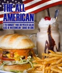 The All American Meal Deal at the Creek Patio Grill (only offered during special occasions).